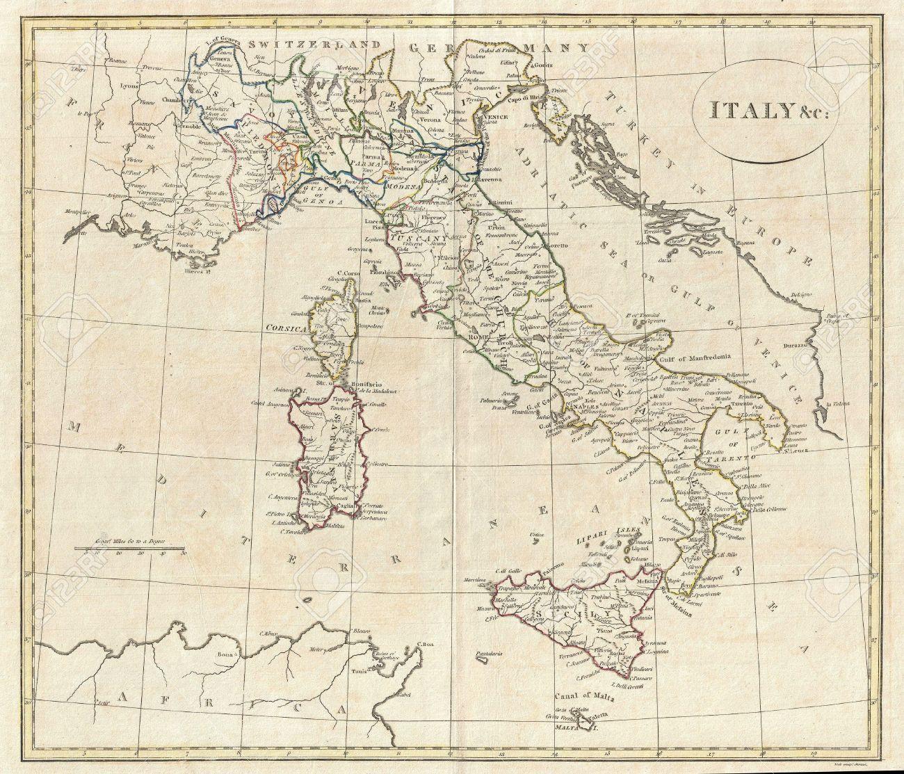 Gammal Karta Italien.Gammal Karta Over Italien Karta Over Italien Gamla Sodra Europa