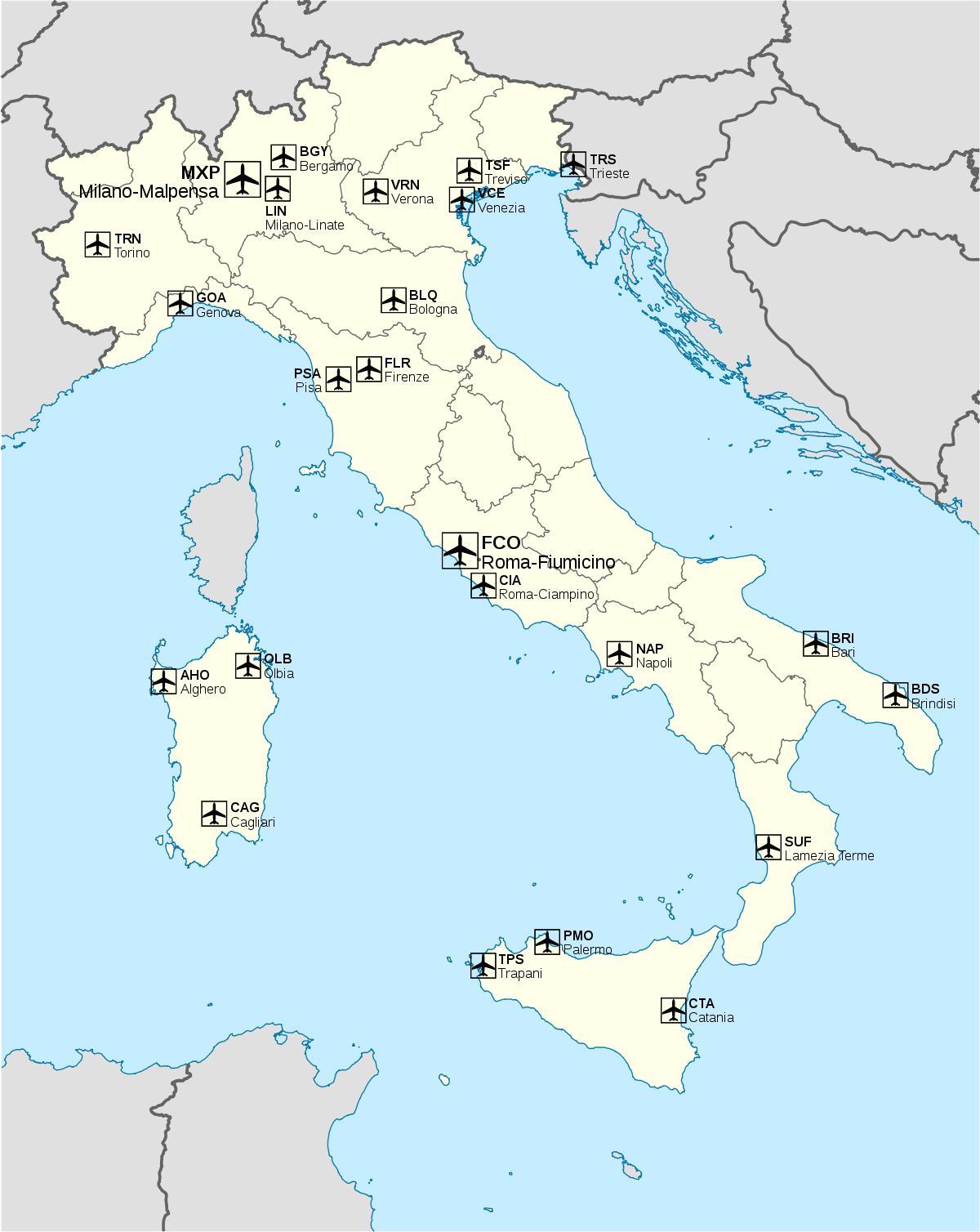karta italien flygplatser Italien flygplats karta   Internationella flygplatser i Italien  karta italien flygplatser