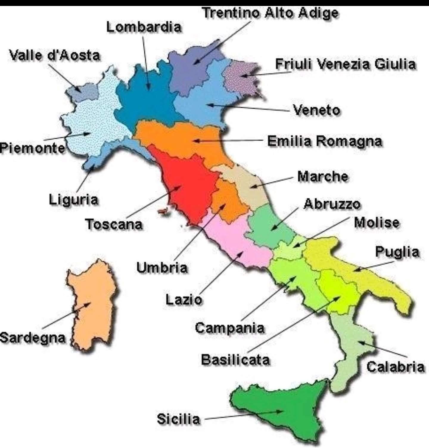 Regioner I Italien Karta Med Stader Karta Over Italien Med