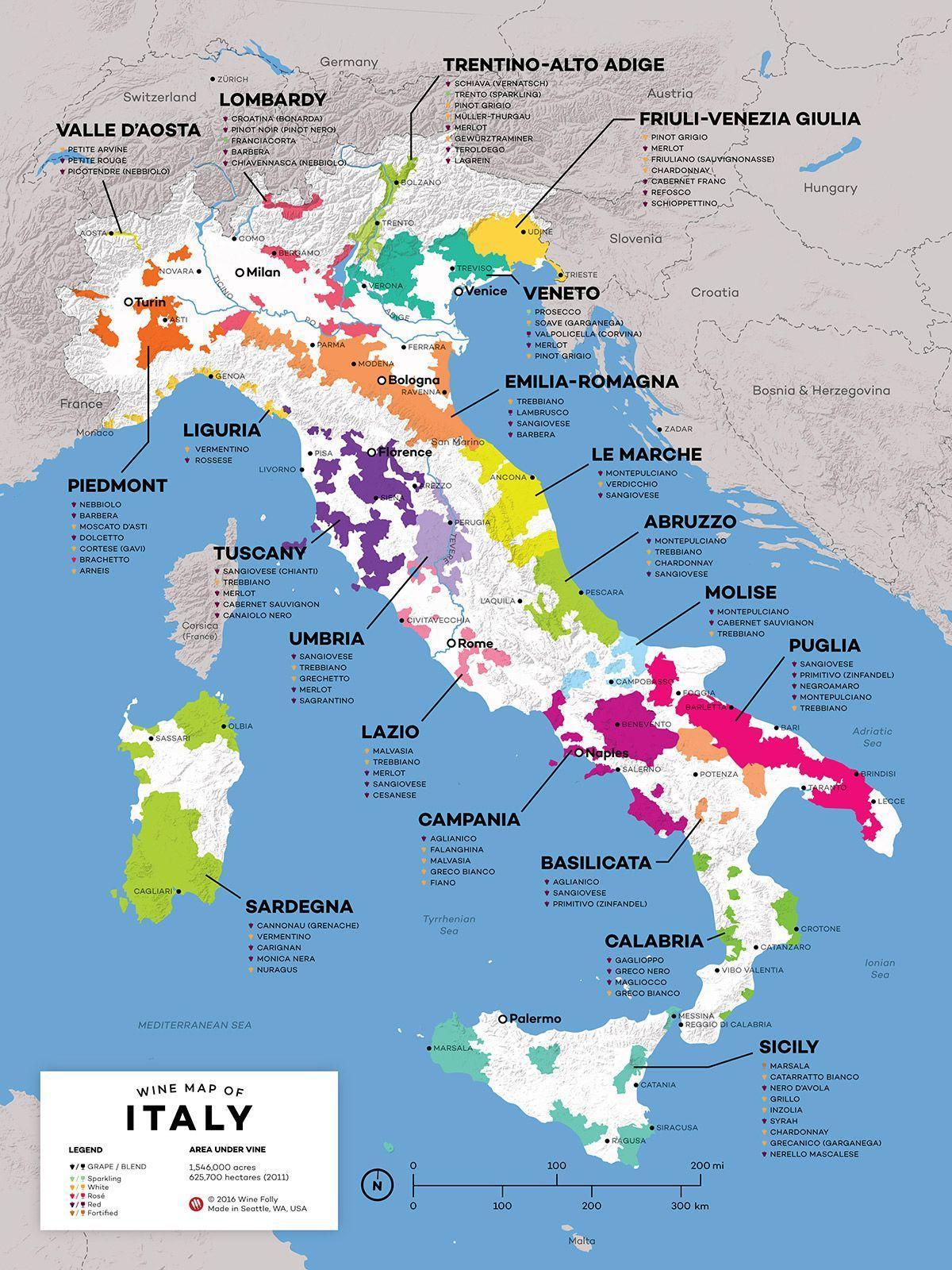 Italien Vin Regioner Karta Italien Vin Karta Sodra Europa Europa