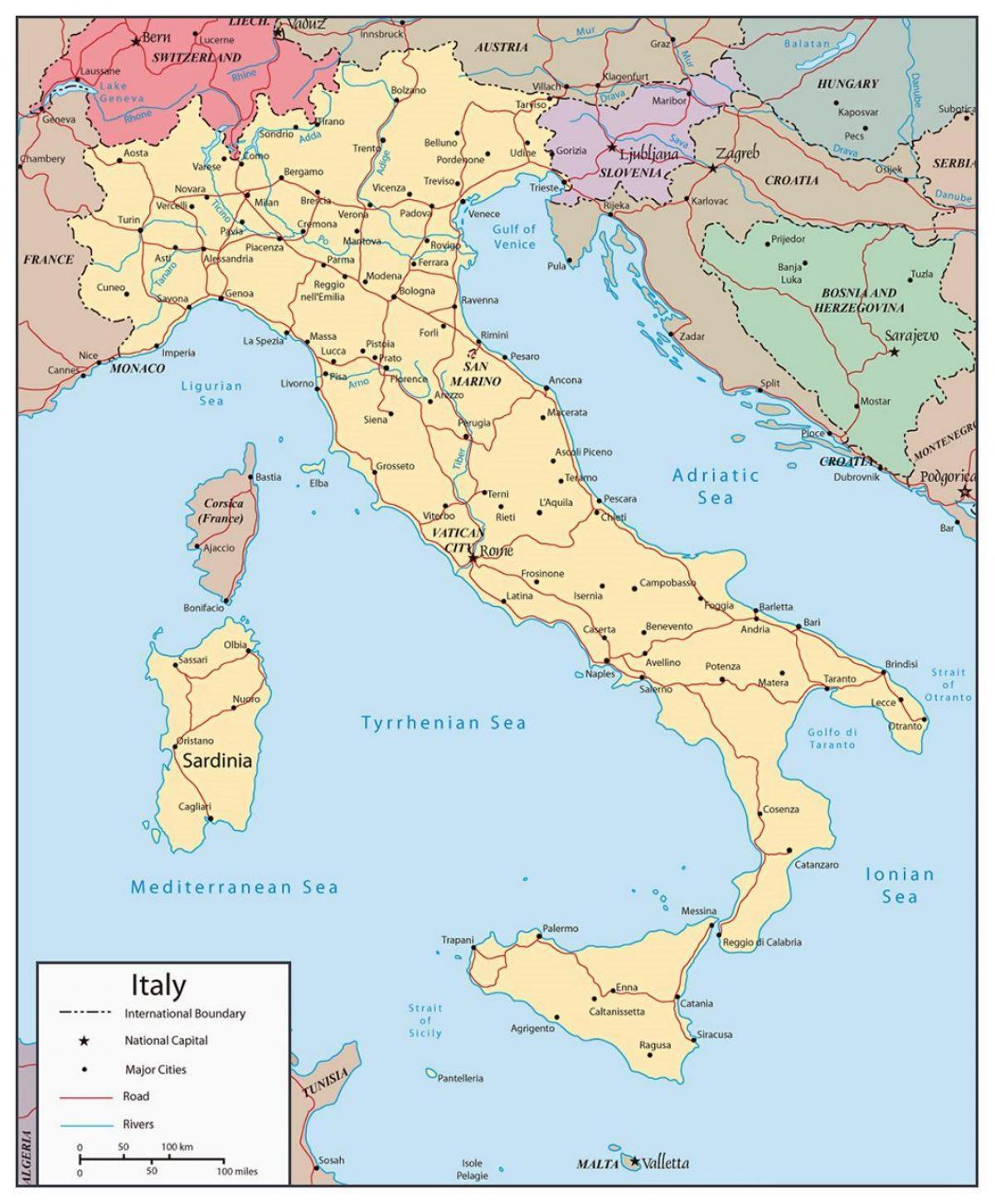 Karta Over Italien Med Stader Karta Over Italien Visar Storre
