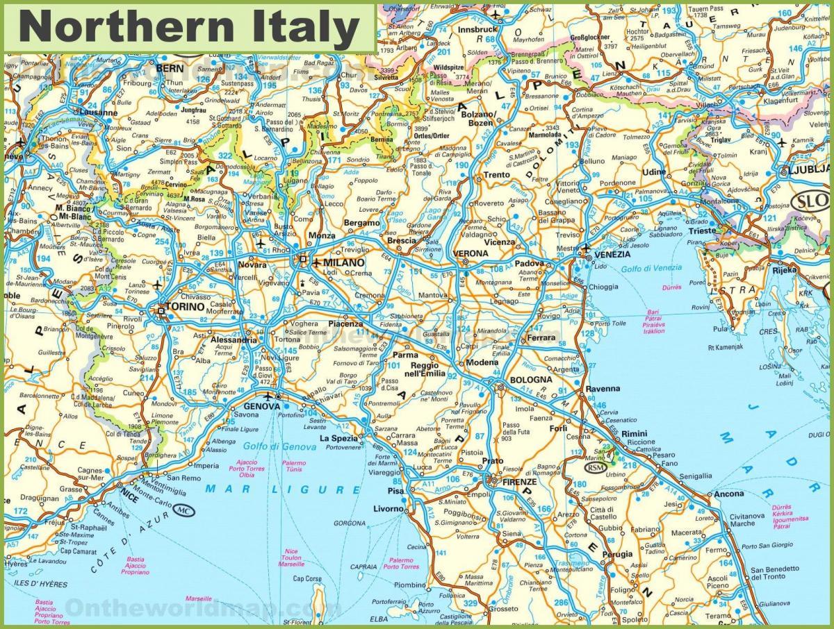 italien norra karta Karta över norra Italien   Detaljerad karta över norra Italien  italien norra karta