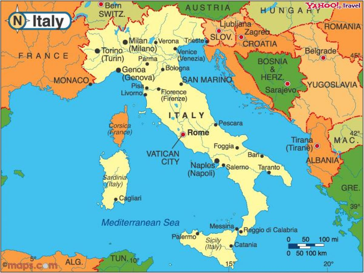 italien karta firenze Länder runt om Italien karta   Italien och angränsande länder  italien karta firenze